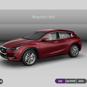 Infiniti Q30 QX30 magnetic red